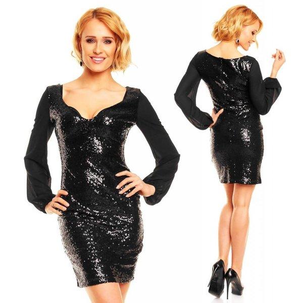Elegante Fashion Jurk met Pailletten Zwart