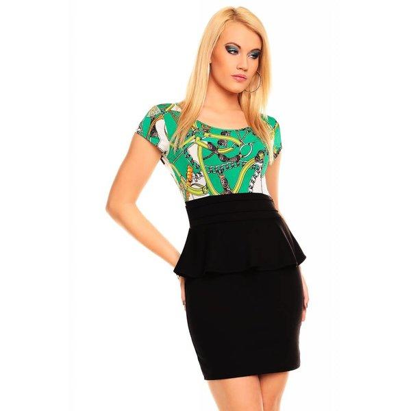 Fashion Peplum Jurk Groen / Zwart