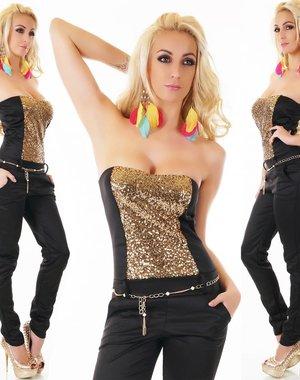 Lange Strapless Jumpsuit Goud / Zwart