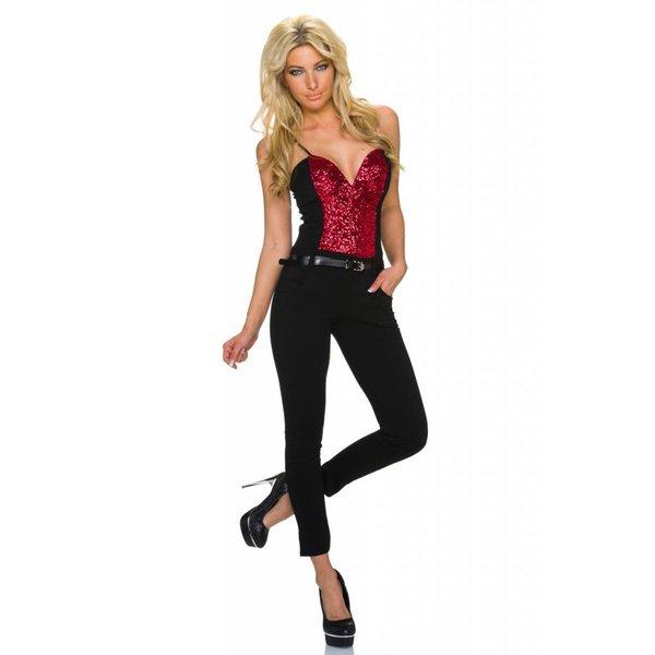 Lange Strapless Jumpsuit Rood / Zwart