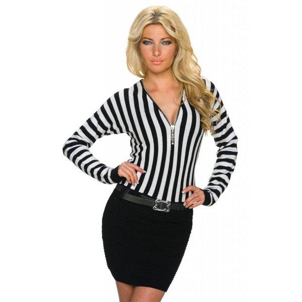 Fijn Gebreide Fashion Mini Jurk Wit / Zwart