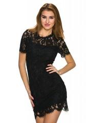 Kanten Mini jurk met Ronde Hals Zwart