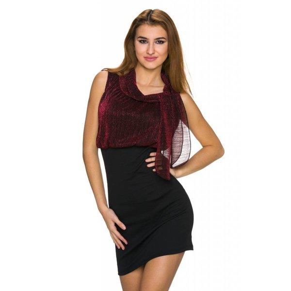 Fashion Mini Jurk in Nauwsluitende Rok Wijnrood / Zwart