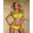Bandeau Bikini met Ruffles Neon Geel