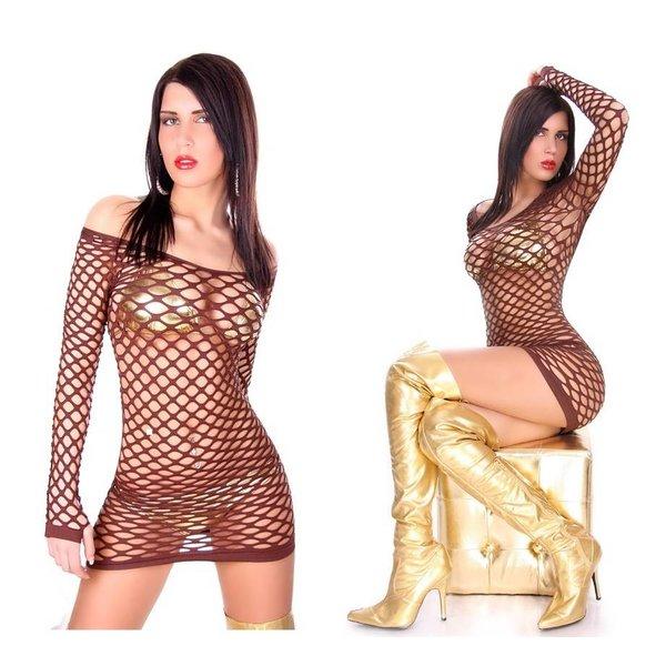 Clubwear Visnet Mini Jurkje Bruin