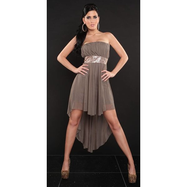 Strapless Taupe Bandeau Jurk met Glitter Taille