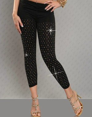 Driekwarts Zwarte Legging met Bling Bling Details