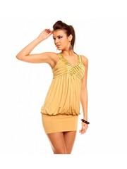 Fashion Mini Jurk van Stretch Stof Beige
