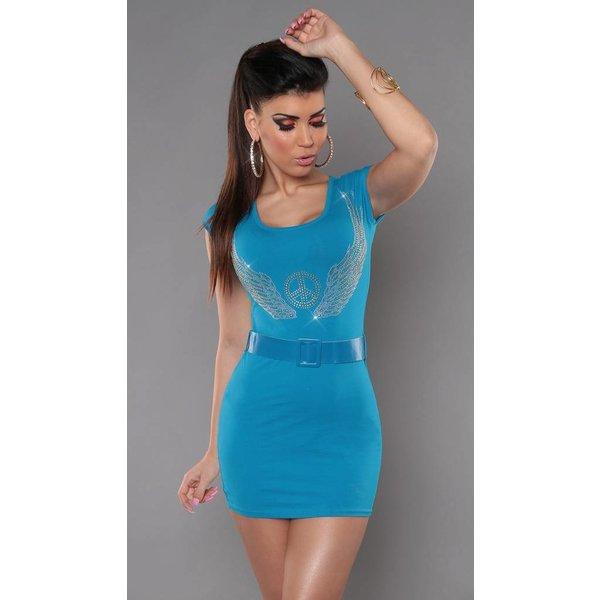 Sexy Mini Jurkje / Lange Top met Strass Turquoise Blauw