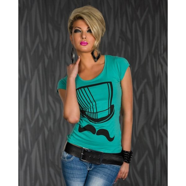 Mooi Topje / Shirt met Korte Mouwen Turquoise Groen