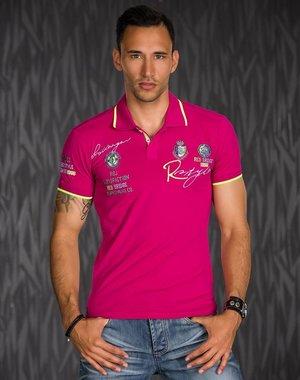 Heren Poloshirt met Korte Mouwen & Borduursel Pink
