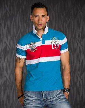 Polo Shirt met Sportieve Contrast Strepen Blauw / Rood