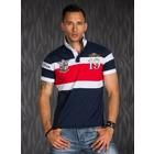 Polo Shirt met Sportieve Contrast Strepen Donkerblauw / Rood