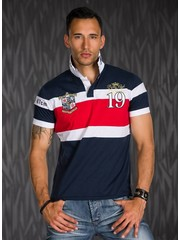 Polo Shirt met Sportieve Contrast Strepen Donkerblauw / Rood