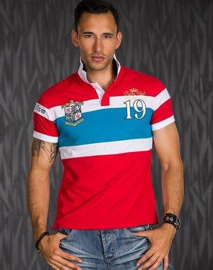 Heren Poloshirt Rood / Blauw