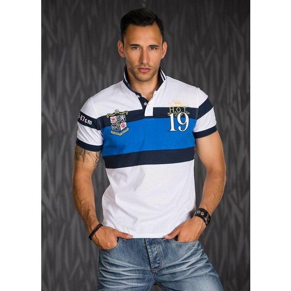 Poloshirt met Sportieve Contrast Strepen Wit / Blauw