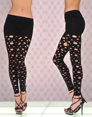 Exclusieve SeXy Legging met Gaatjes Patroon Zwart