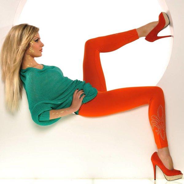 SeXy Stretch Legging met Studs Oranje
