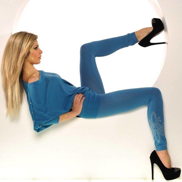 SeXy Stretch Legging met Studs Blauw