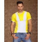 T-Shirt met Modieuze Contrast Kleuren Wit / Geel