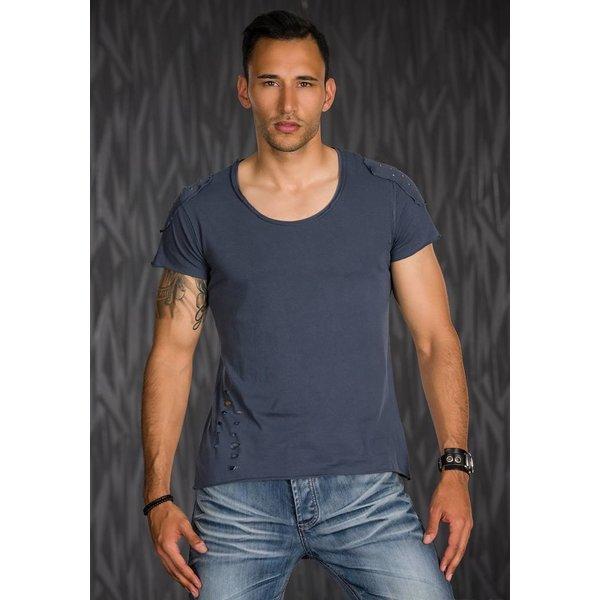 T-Shirt in Casual Stijl met Ronde Hals Donker Grijs