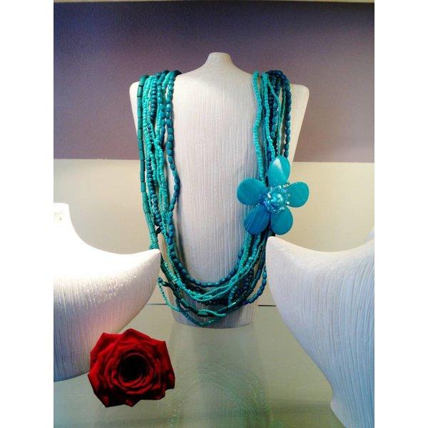 Turquoise Lange Halsketting Flower