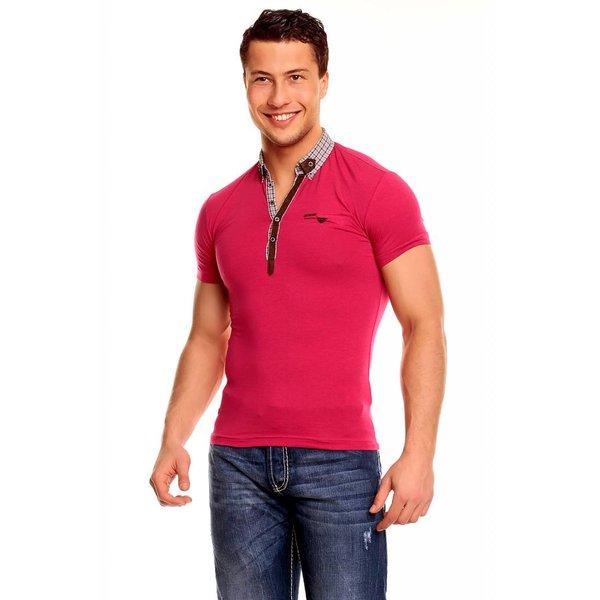 T-shirt met Knoopsluiting & Trendy Kraag Fuchsia
