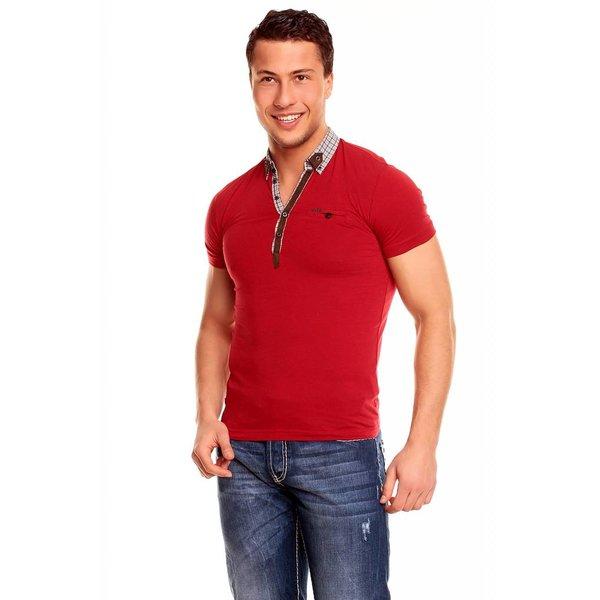 T-shirt met Knoopsluiting & Trendy Kraag Rood