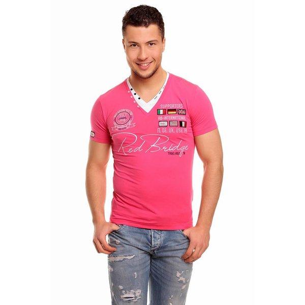 T-shirt van Redbridge met V-hals Fuchsia