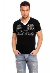 T-shirt van Redbridge met V-hals Zwart