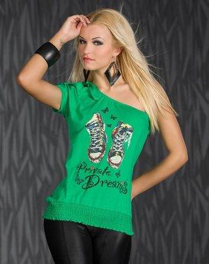 "One-Shoulder Fashion Shirt ""Private Dromen"" Groen"