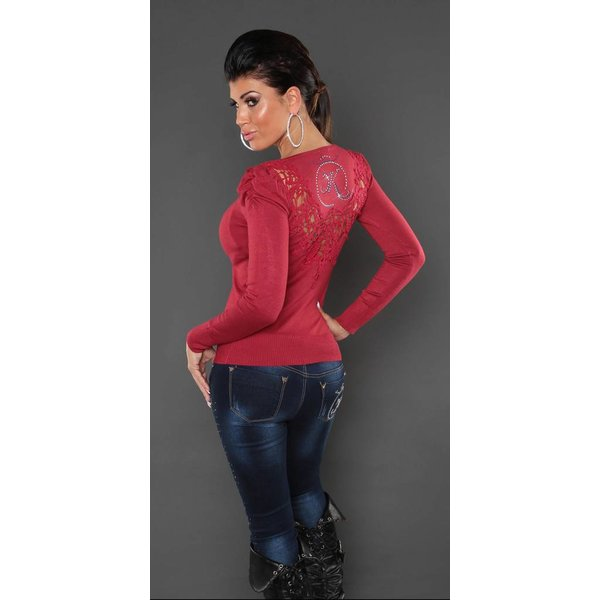 Fashion KouCla Trui met Borduurwerk Rood
