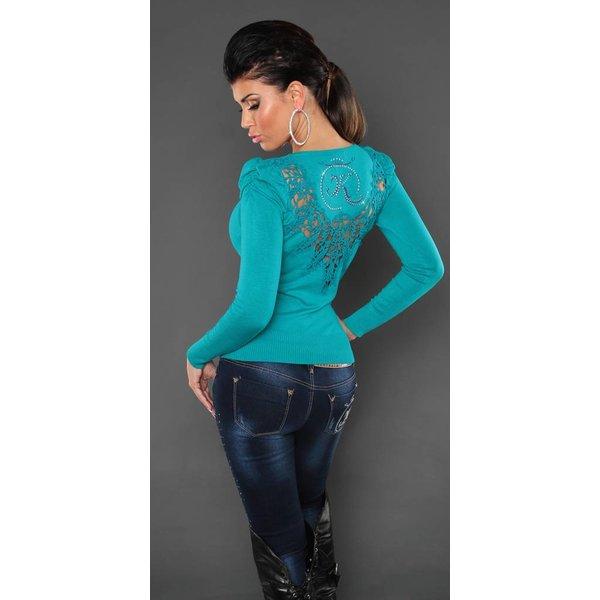 Fashion KouCla Trui met Borduurwerk Turquoise