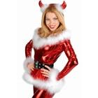 Metallic Wetlook Kerstvrouw Pakje Rood
