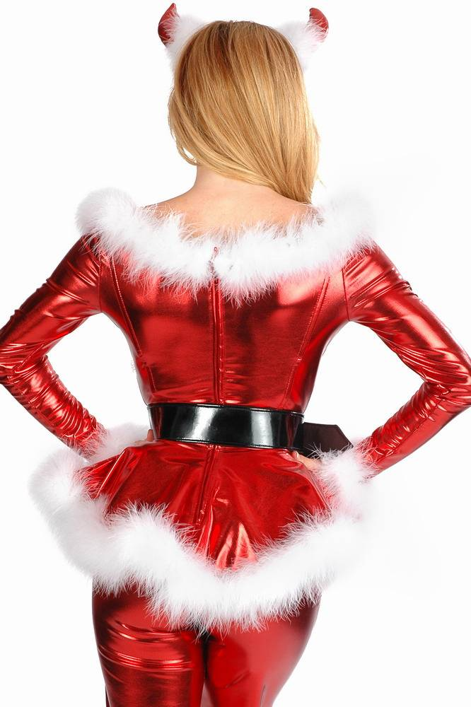 c6e93117caeee4 Metallic Wetlook Kerstvrouw Pakje Rood - Fashion Of M