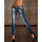 Skinny Jeans in Gewassen & Vernietigd Look Blauw Indigo