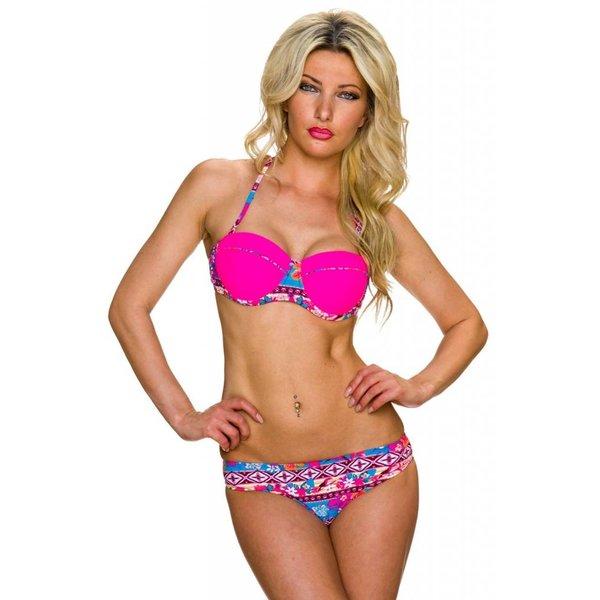 Multicolor Neckholder Bikini Set Fuchsia