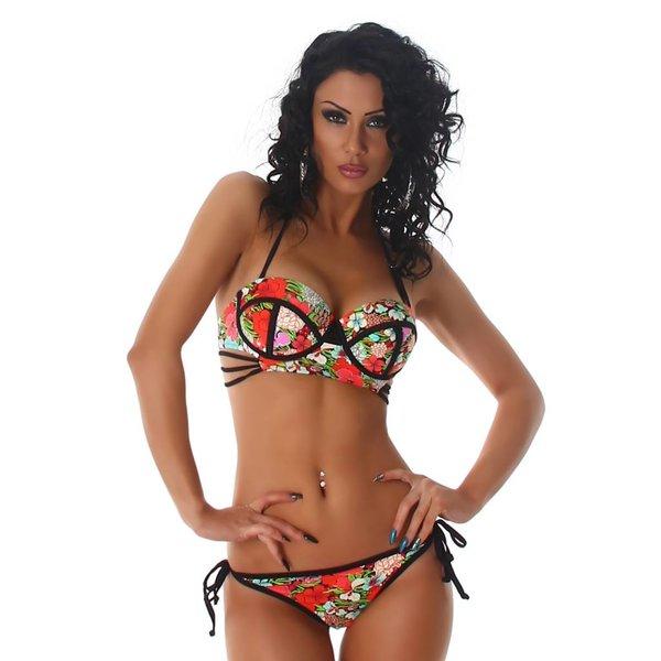 Multicolor Neckholder Bikini Set Rood