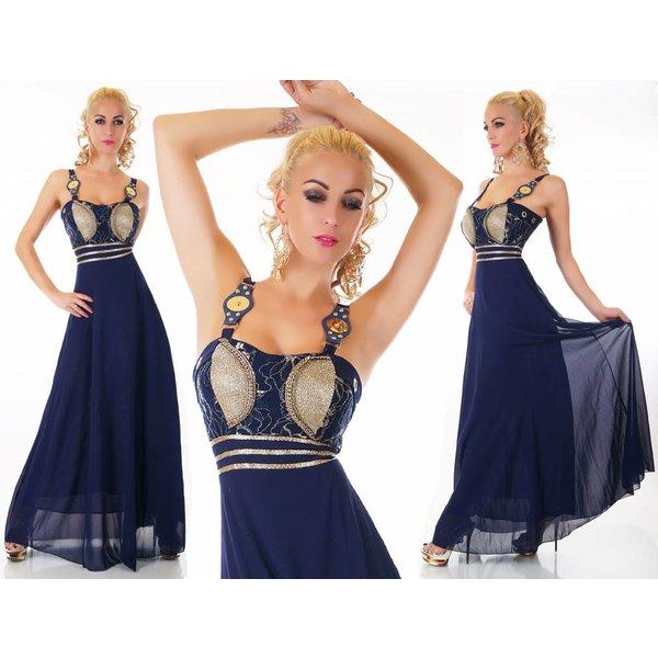 Mooi & Elegant Lange Avondjurk van Chiffon Donker Blauw