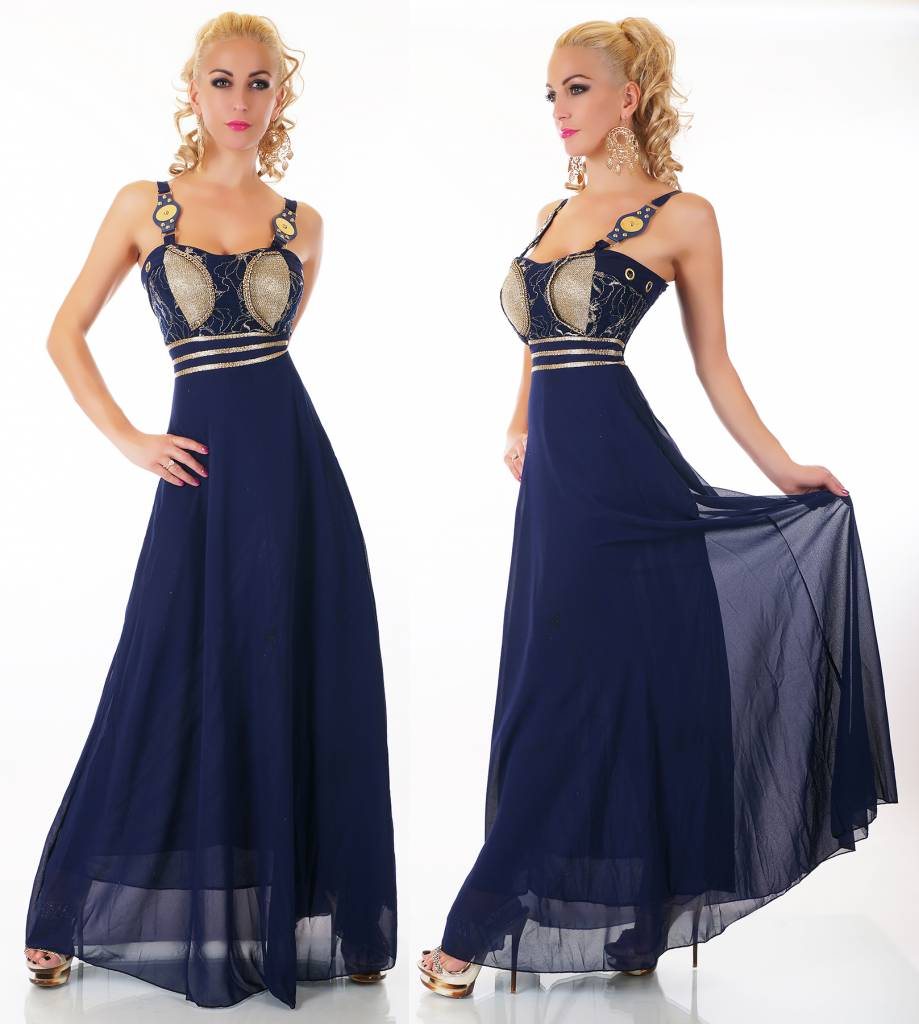 Mooie Lange Avondjurken.Mooi Elegant Lange Avondjurk Van Chiffon Donker Blauw Fashion Of M