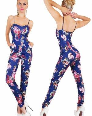 Lange Fashion Jumpsuit met Bloemenprint Blauw