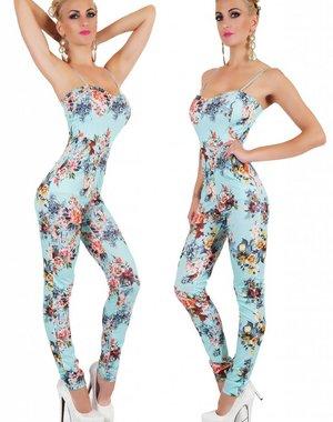 Lange Fashion Jumpsuit met Bloemenprint Turquoise
