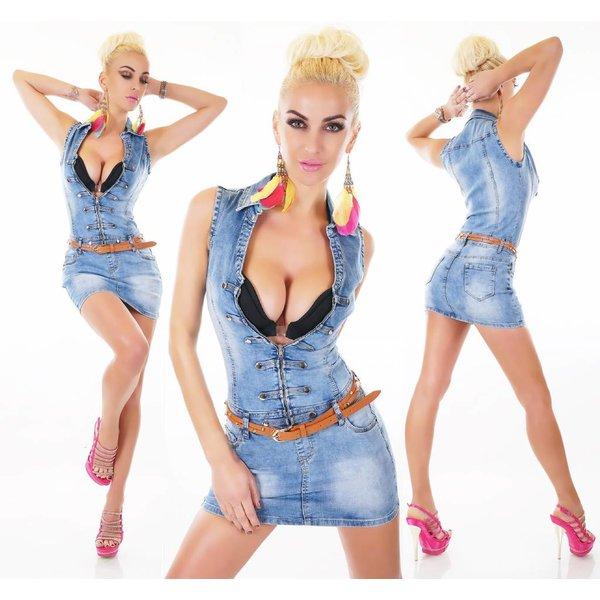 Korte Trendy Jeans Jurk Licht Blauw