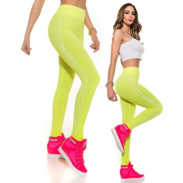 Lange Sport Legging Neon Geel