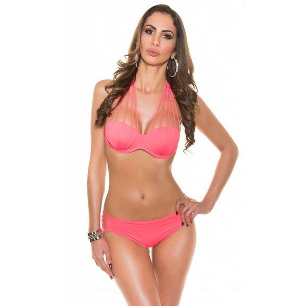 SeXy Neckholder Bikini Set Neon Fuchsia
