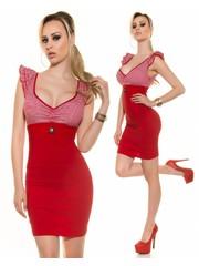 Nauwaansluitende Fashion Mini Jurk Rood