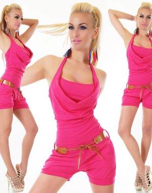 Tropical Neckholder Playsuit Pink