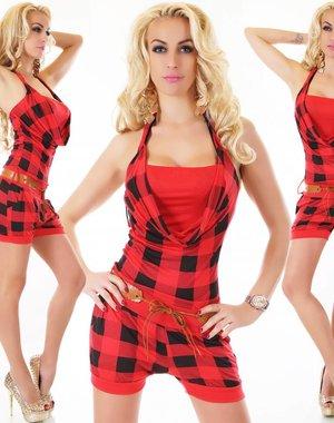 Neckholder Fashion Playsuit Rood