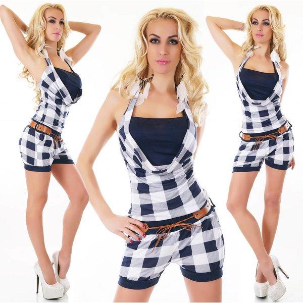 Neckholder Fashion Playsuit Blauw
