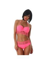 Trendy Push-Up Bikini Set Neon Apricot